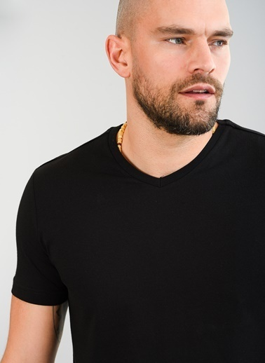 People By Fabrika V Yaka Basic Tişört Siyah